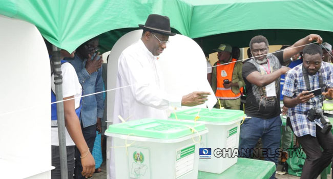 Bayelsa Election: Ex-President Jonathan, Wife Vote