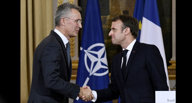 Macron Defends 'Wake-Up Call' For NATO After Talks With Chief