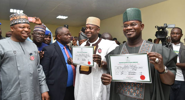 INEC Presents Certificate Of Return To Yahaya Bello