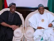 A file photo of AfDB President, Akinwumi Adesina and President Muhammadu Buhari.