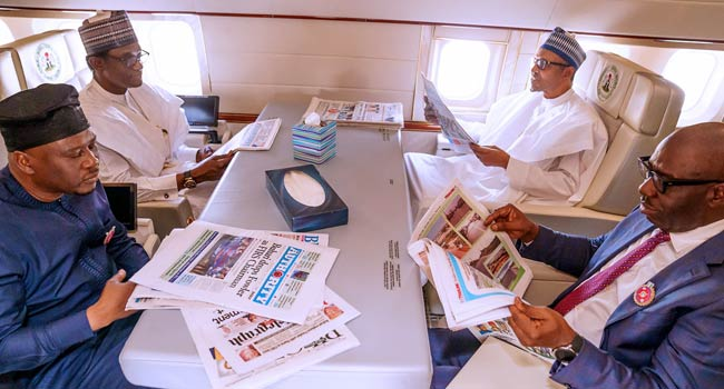 PHOTOS: Buhari, Fintiri, Two Other Governors Depart Abuja For Egypt