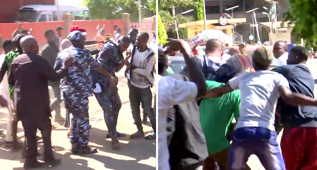 VIDEO: Deji Adeyanju Beaten Up As Sowore Supporters, Group Clash Despite Police Presence