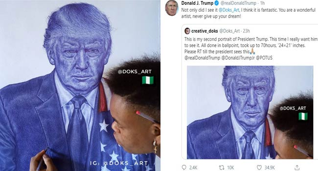 TRENDING: 'You Are A Wonderful Artist,' Trump Praises Nigerian Who Painted His Portrait