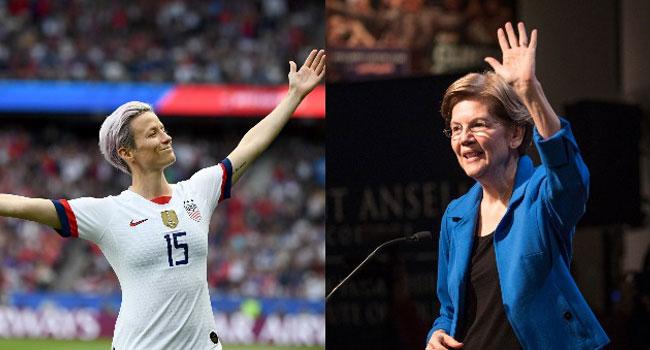 US Football Star Rapinoe Backs Democrat Warren For 2020 Election