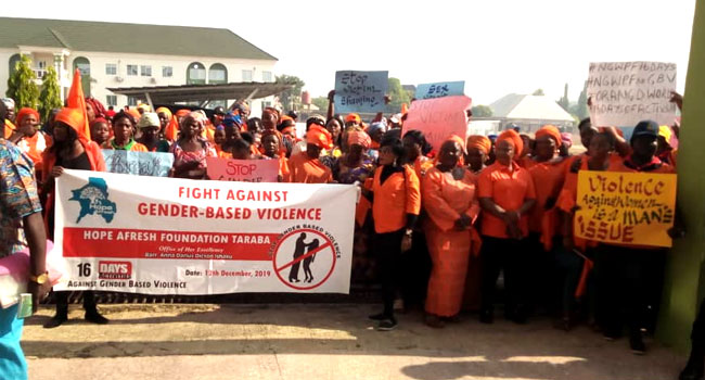 Ishaku's Wife Leads Protest Against Gender-Based Violence In Taraba