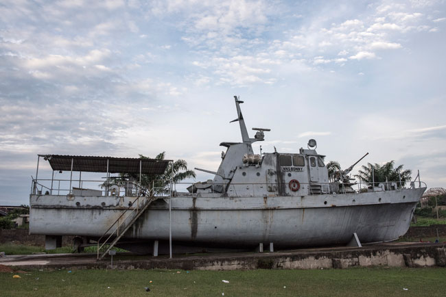 In this file photograph taken on May 26, 2017, shows the NSS BONNY on display at the at the War Museum in in Umuahia, in south-eastern Nigeria. STEFAN HEUNIS / AFP