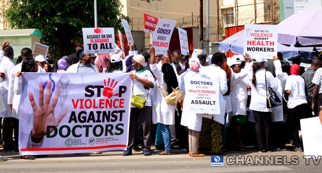 PHOTOS: Doctors Protest, Condemn Assault On Female Colleague In Abuja