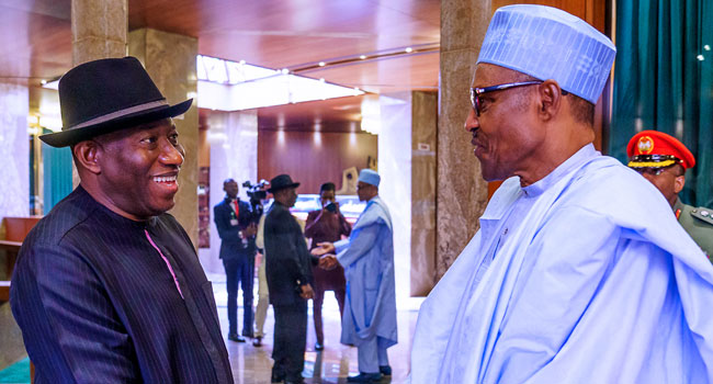 A file photo of former President Goodluck Jonathan and President Muhammadu Buhari.