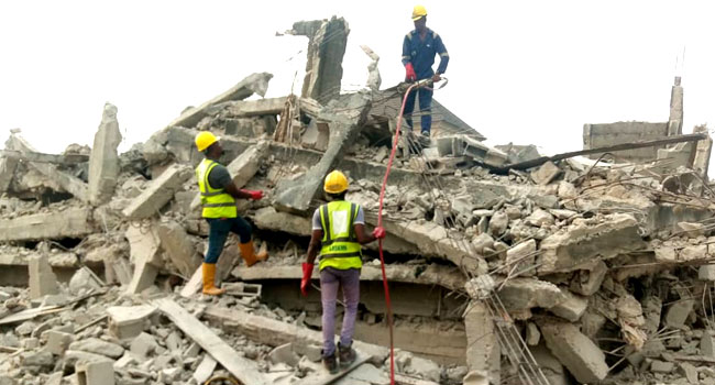 UPDATED: Officials Rescue Man Trapped Under Collapsed Lagos Building