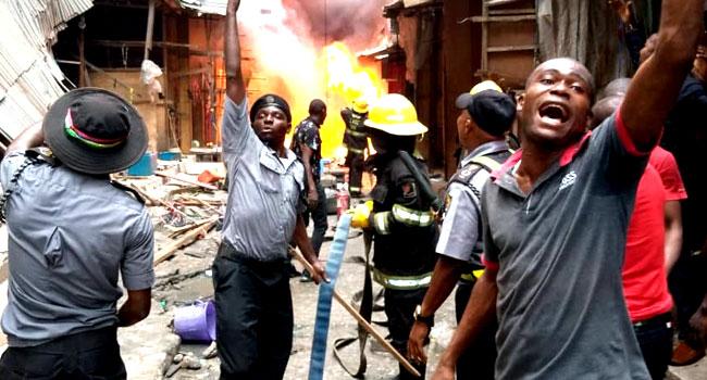 PHOTOS: Firefighters Battle Inferno At Balogun Market