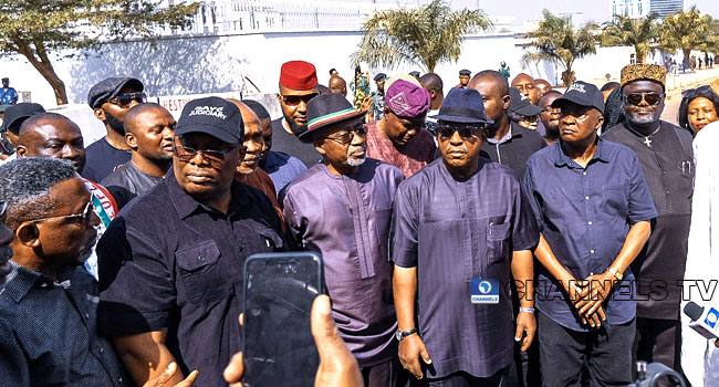 PHOTOS: Secondus, Abaribe Lead Protest To US, UK Embassies Over Supreme Court Judgement