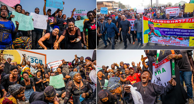 PHOTOS: 'Tanko Must Go' – Ihedioha's Supporters Troop To The Streets