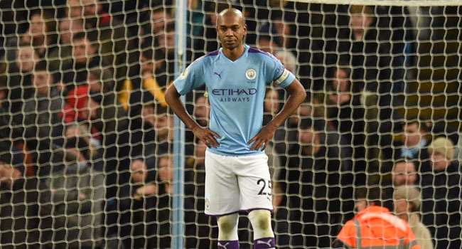 Manchester City's Brazilian midfielder Fernandinho reacts after he scored an own goal during the English Premier League football match between Manchester City and Crystal Palace at the Etihad Stadium in Manchester, north west England, on January 18, 2020. Oli SCARFF / AFP