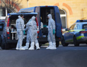 Forensic experts of the police stand near the site where a shooter, believed to have a personal motive, launched an assault on January 24, 2020 in the town of Rot am See in southwestern Germany. Marijan Murat / DPA / AFP