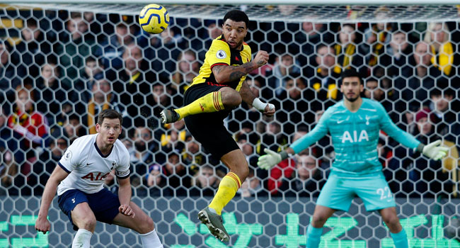 Watford's English striker Troy Deeney controls the ball during the English Premier League football match between Watford and Tottenham Hotspur at Vicarage Road Stadium in Watford, north of London on January 18, 2020. Adrian DENNIS / AFP