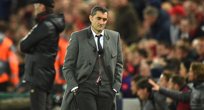 In this file photo taken on May 07, 2019 Barcelona's Spanish coach Ernesto Valverde reacts during the UEFA Champions league semi-final second leg football match between Liverpool and Barcelona at Anfield in Liverpool, north west England on May 7, 2019.  Oli SCARFF / AFP