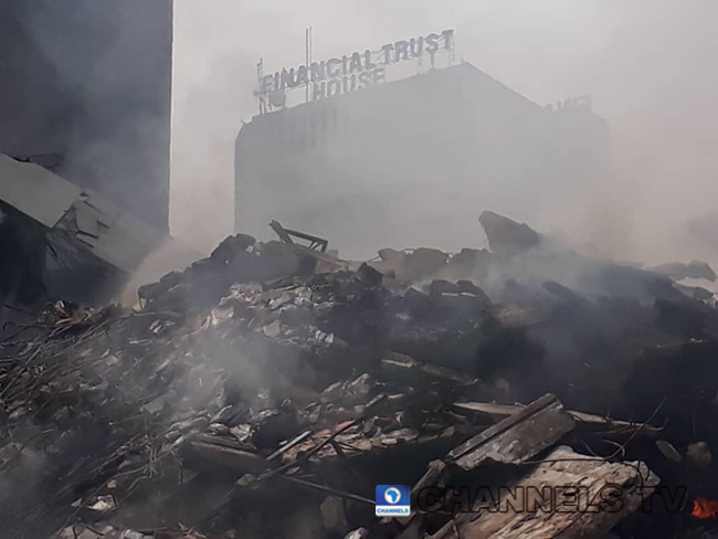 A close-up of rubble left behind after a fire outbreak at Balogun market, Lagos.