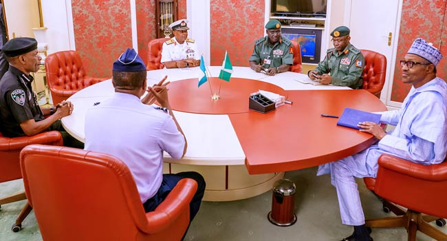 PHOTOS: Buhari Holds 'Special' Meeting With Service Chiefs, IGP