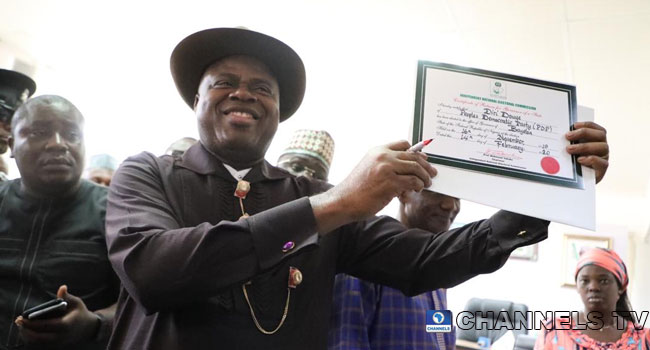 PHOTOS: PDP's Diri Presented Certificate Of Return As Bayelsa Governor-Elect