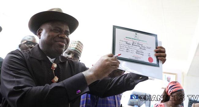 PHOTOS: PDP's Diri Presented Certificate Of Return As Bayelsa Governor-Elect
