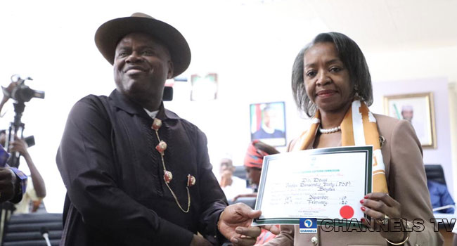 INEC Presents Certificate Of Return To PDP's Douye Diri