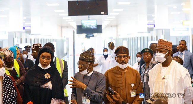 Lai Mohammed, Mamora, Other Ministers Supervise Coronavirus Screening At Airport