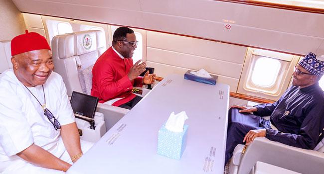 PHOTOS: Ayade, Uzodinma Travel With Buhari For AU Summit