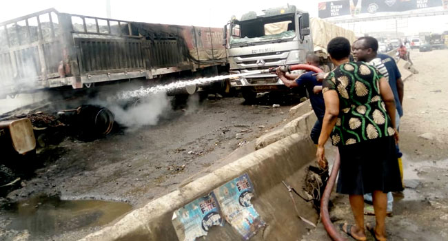 PHOTOS: Mob Sets Truck Ablaze In Ogun