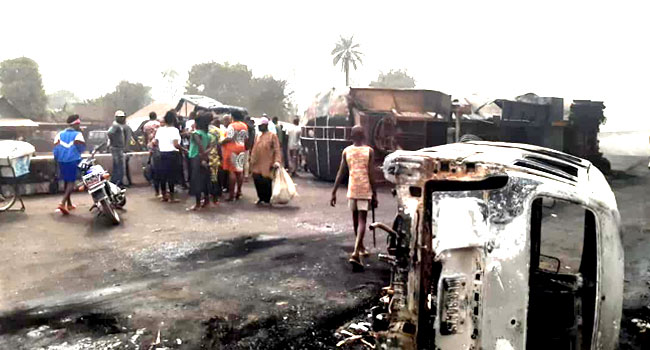 PHOTOS: Petrol Tanker Fire Kills One, Injures Two In Imo