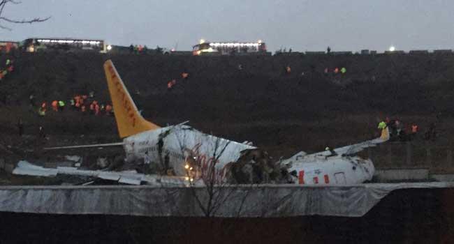 Plane Breaks Into Two After Landing In Turkey