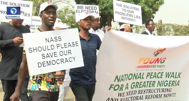 YPP Members Stage Protest At NASS, Demand Electoral Reform