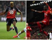 A picture combination of Victor Osimhen (right) of Lille and Sadio Mane of Liverpool
