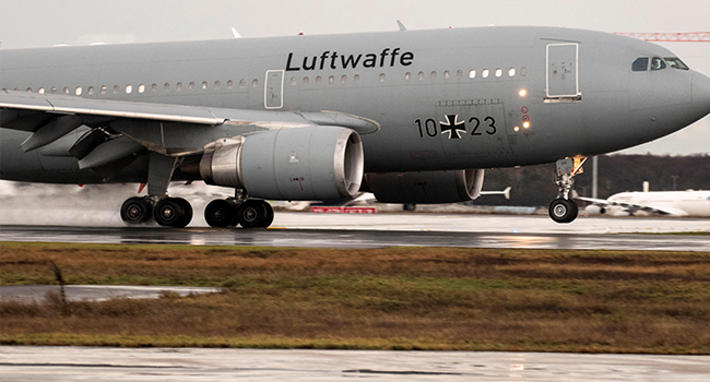 """German Air Force Airbus A310 """"Kurt Schumacher"""" lands at Frankfurt am Main's airport, western Germany, with on board German citizens who have been evacuated from the Chinese city of Wuhan, epicentre of the coronavirus outbreak on February 1, 2020. Thomas Lohnes / AFP"""