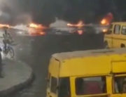 Protesters kicked against the ban of commercial motorcycles and tricycles in Ijora-Olopa, Lagos, on Monday, February 3, 2020