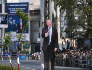 A cutout of US President Donald Trump is seen as people wait beside a street to catch a glimpse of his motorcade in Ahmedabad on February 24, 2020. Mandel NGAN / AFP