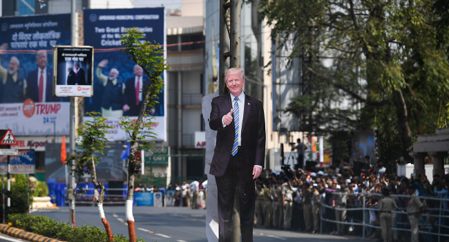 Huge Rally For Trump As US President Arrives India