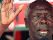 File picture of Kenyan President Daniel Arap Moi addressing a rally in Malindi, North of Mombasa, 26 August 1997. ALEXANDER JOE / AFP
