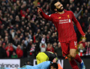 Liverpool's Egyptian midfielder Mohamed Salah celebrates after he scores his team's fourth goal during the English Premier League football match between Liverpool and Southampton at Anfield in Liverpool, north west England on February 1, 2020. Paul ELLIS / AFP
