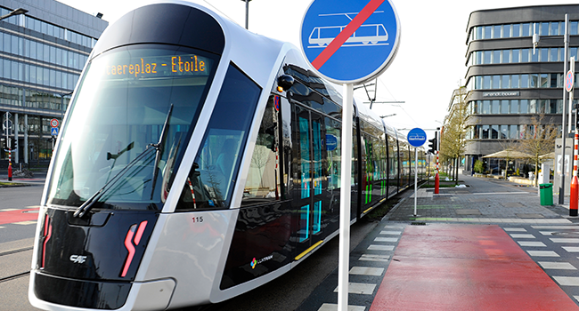 A photo taken on February 29, 2020 shows a tramway in Luxembourg as the country inaugurates its free public transports policy. JEAN-CHRISTOPHE VERHAEGEN / AFP
