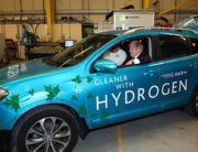 Britain's Prime Minister Boris Johnson sits in a hydrogen-fuelled prototype car during a visit to The Industry Centre at the University of Sunderland in Sunderland, northeast England, on January 31, 2020. SCOTT HEPPELL / POOL / AFP