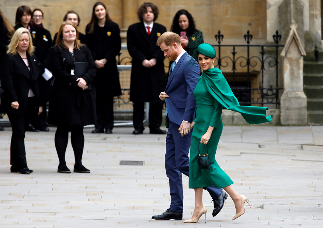 Britain's Prince Harry, Duke of Sussex, (L) and Meghan, Duchess of Sussex arrive to attend the annual Commonwealth Service at Westminster Abbey in London on March 09, 2020. - Britain's Queen Elizabeth II has been the Head of the Commonwealth throughout her reign. Organised by the Royal Commonwealth Society, the Service is the largest annual inter-faith gathering in the United Kingdom. Photo: Tolga AKMEN / AFP
