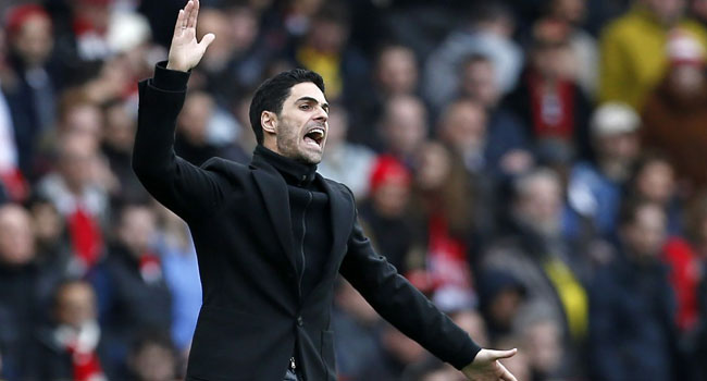 Arsenal's Spanish head coach Mikel Arteta gestures on the touchline during the English Premier League football match between Arsenal and West Ham at the Emirates Stadium in London on March 7, 2020. Ian KINGTON / AFP