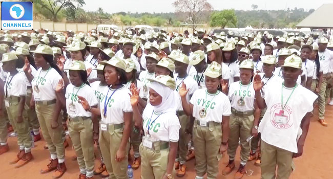 A file photo of National Youth Service Corp members on a field.