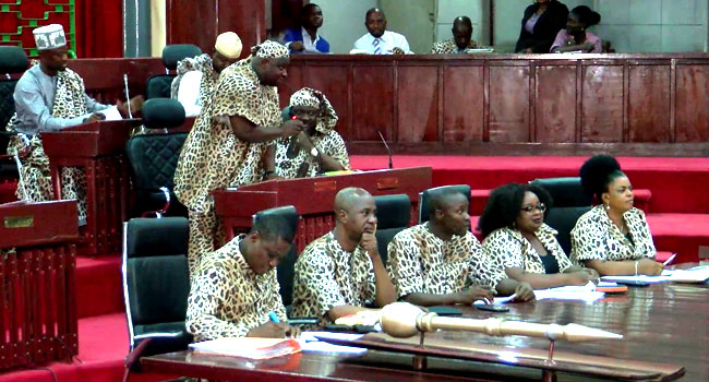 PHOTOS: Oyo Lawmakers Don Leopard Skin-Like Attires For Amotekun bill