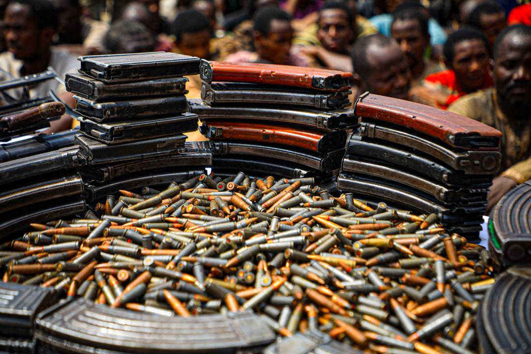Recovered ammunitions on display during a parade of suspects by the Special Anti-Robbery Squad of the Nigerian Police Force in Abuja on March 11, 2020. Photo: Sodiq Adelakun / Channels TV
