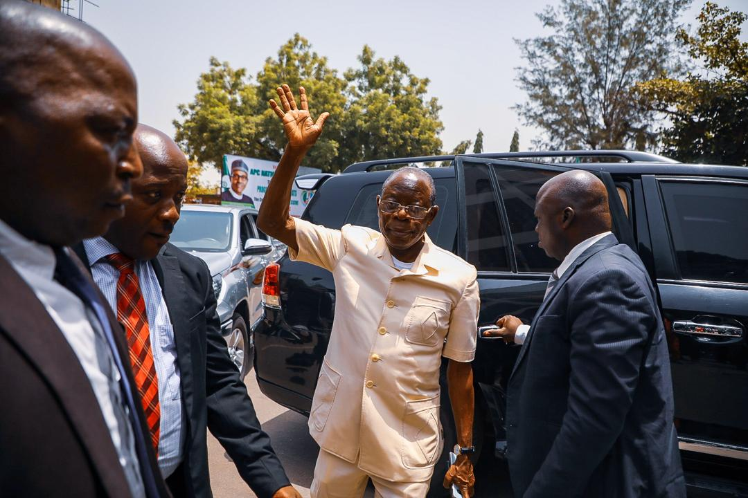 The moment APC Chairman, Adams Oshiomhole arrived the APC headquarters for the first time since his suspension on Tuesday, March 17, 2020. Photo: Sodiq Adelakun / Channels TV
