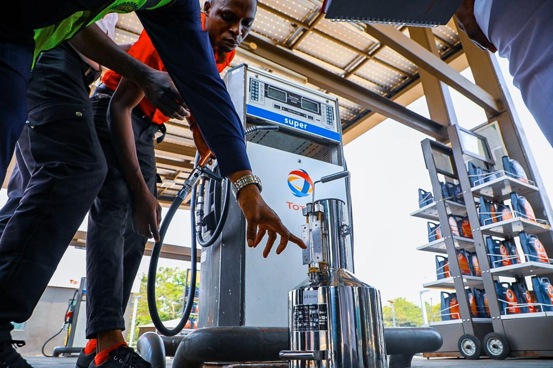 Members of the Petroleum Products Pricing Regulatory Agency (PPPRA) embark on a modulation of petroleum products prices in Abuja on March 18th, 2020 after the Federal Government's directive to adjust the pump price of premium motor spirit to N125 per litre. Photo: Sodiq Adelakun / Channels TV