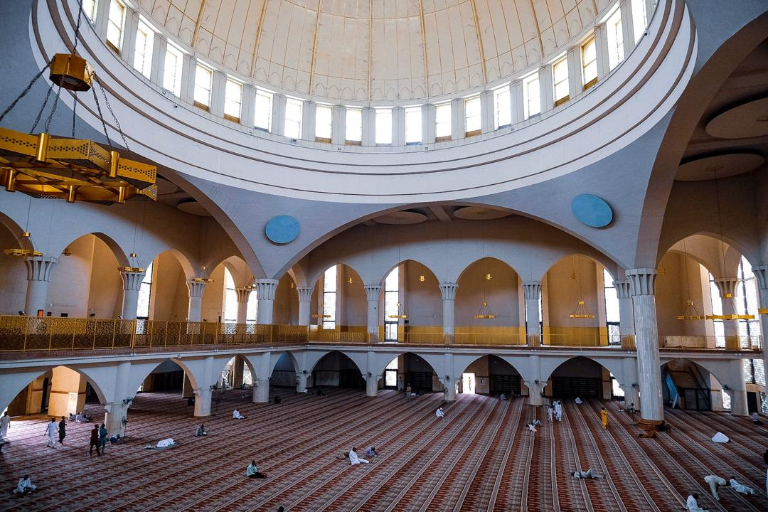 Muslim faithfuls worship inside the National Mosque in Abuja before the Friday Jumah prayer on March 20th 2020. Photo: Sodiq Adelakun / Channels TV