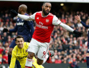 Arsenal's French striker Alexandre Lacazette celebrates after scoring the opening goal of the English Premier League football match between Arsenal and West Ham at the Emirates Stadium in London on March 7, 2020. Ian KINGTON / AFP