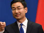 Chinese Foreign Ministry spokesman Geng Shuang takes a question during the daily press briefing in Beijing on March 18, 2020. GREG BAKER / AFP